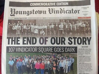 YOUNGSTOWN VINDICATOR COMMEMORATIVE Edition, 8/31/19 FINAL PAPER FREE BAG