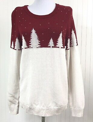 Holiday Arcade NWT Women's XL Christmas Sweater 100% Cotton Red Ivory Trees L/S