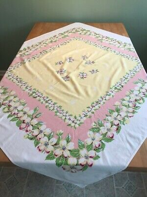 """PRETTY Vintage Cotton Tablecloth Floral 52""""x48"""" Pink Yellow Green Dogwood"""
