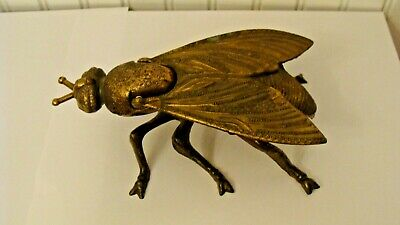 """Unique Vintage Italian Brass FLY Ashtray/Figurine Made in Italy 7""""x4.2"""" & 2.5""""T"""
