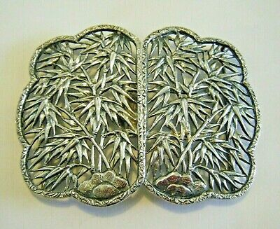 Wang Hing Large Sterling Silver Antique Chinese Belt Buckle Bamboo Design WH 90
