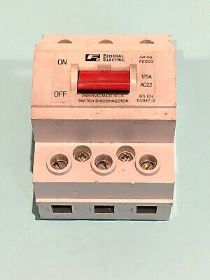 Federal Electric FESD6 125a AC22 Double Pole Switch Disconnector