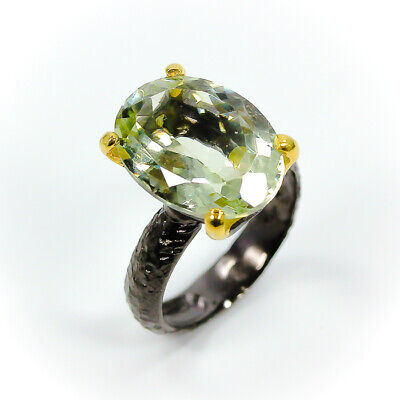 Old Fashion Natural Green Amethyst 925 Sterling Silver Ring 8/R01335