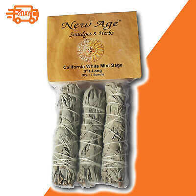 California Mini Sage Wands 3-Inch Pack of 3 White Smudges Herbs Wicca Ritual