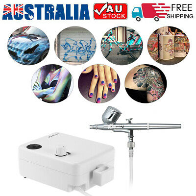 100-250V Dual Action Airbrush Air Compressor Set Gravity Feed Air Brush Kit AU