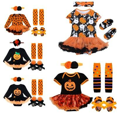 Newborn Baby Girls Pumpkin Costume Romper Dress Outfit Halloween Holiday Clothes
