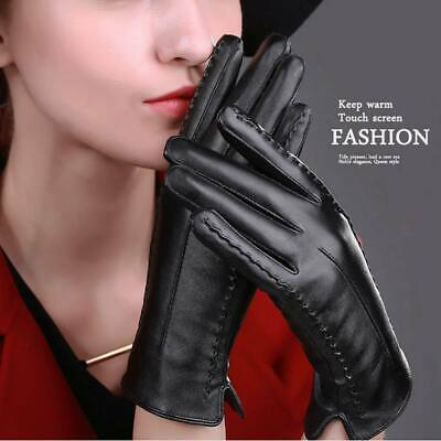 Ladies Womens Faux Leather Touch Screen Gloves Soft w/ Lining Winter Casual Warm