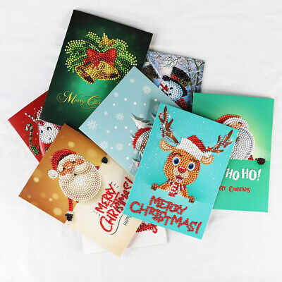 8 Pcs 5D Christmas Greeting Cards Diamond Painting Embroidery DIY Xmas Arts Gift