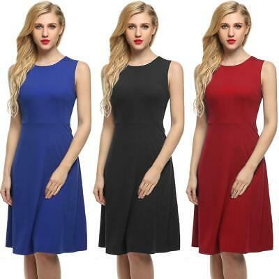 Angvns Wome Moda Sexy senza maniche High Waist Flare-line Party Dress OO55 01
