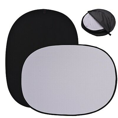 Photo Studio Popup Backdrop Black&White Oval Background Panel Screen Collapsible