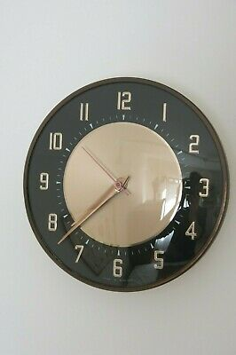 Vintage Mid Century Black & Bronze Metamec Wall Clock