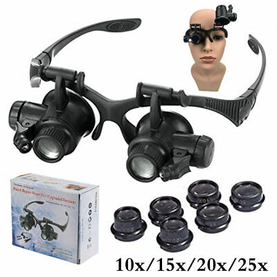 8 Lens Magnifier Magnifying Eye Glass Jeweler Watch Repair Loupe W/ + LED Light
