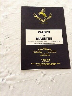 Rugby Union Programme Wasps V Maesteg 3rd September 1983