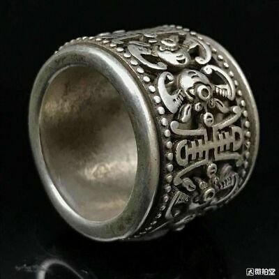 Rare handmade old miao silver carving ancient exorcism ring