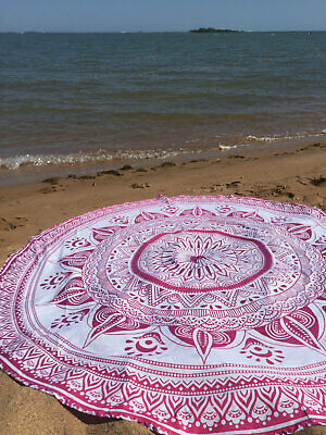 "45"" Indian Ombre Mandala Round Tapestry Hippie Beach Mat Throw 100% Cotton"