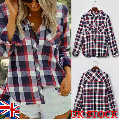 UK Women Plaid Check Shirt Long Sleeve Ladies Casual Collared Blouse Top 10-20
