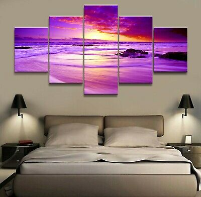 Home Decor Canvas Picture 5 Piece The Sea at Sunset Scenery Painting Poster