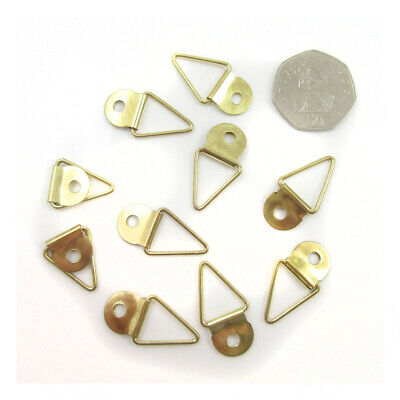 GOLD TRIANGLE 30mm x 16mm STURDY PICTURE HANGING FRAME HOOKS HANGER UK H987