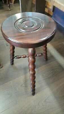 Vintage French Milking Stool, 3 legged Wooden Stool, Bobble Legs