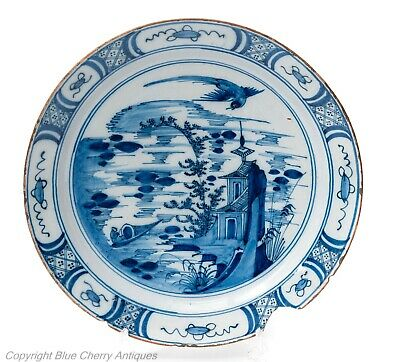 Antique Dutch Delft Pottery Faience Glaze Large Arita Design Blue & White Plate