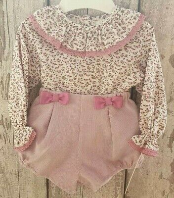 Spanish Style Baby Girl Pink  / Floral Jam Pants and Top Set / Outfit.