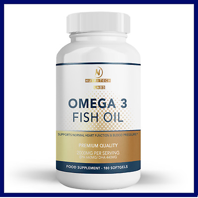Omega 3 Fish Oil Supplement 2000 mg Triple Strength 660 Epa 440 DHA-180 Capsules