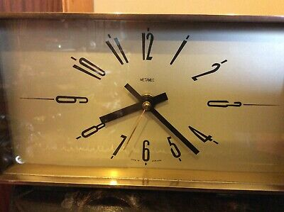 Art Deco 'Metamec' Wood & Brass & Bakelite Electric Mantle Clock-Elliptical Face