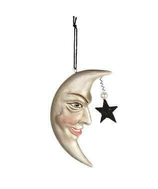 Bethany Lowe Halloween Man In The Moon Ornament Crescent Moon Face and Star