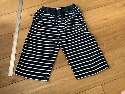 John Lewis Navy and off white striped long shorts boys 12yrs Good condition