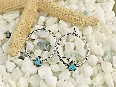 Beautiful Silver Plated Turquoise Hoop Style Earrings