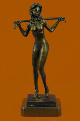 Signed Preiss Special Patina Girl in Bondage Bronze Sculpture Marble Statue Gift