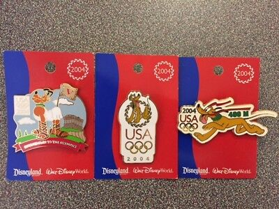 Disney USA 2004 Olympic Logo Pins - Featuring Pluto on each - 3 Pins NOC