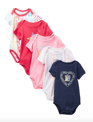Juicy Couture Baby Girls Bodysuits 5 Pack Rainbow One Piece Rompers 6-9 Months