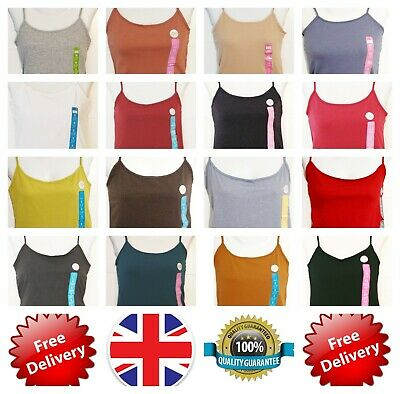 Primark Women Ladies Cami Stretch Vest Top All Sizes & Colours Adjustable strap