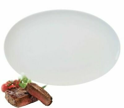 6x Large Pure White Oval Coupe Dinner Plate Steak Plate Porcelain 35cm 14 Inch