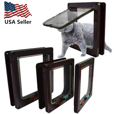 Brown Pet Cat Puppy Magnetic Lock Lockable Safe Flap Door Gate Frame S M L USA