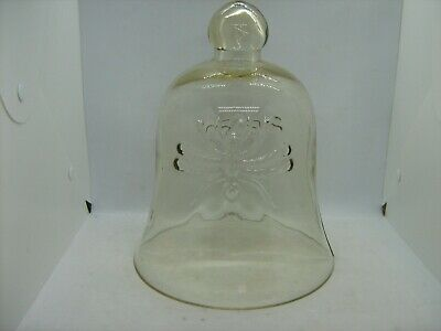 Vintage large glass cloche bell jar dome with embossed insects