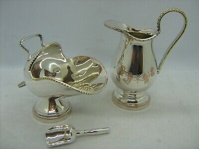 Vintage silver plated salt pig and jug, engraved and gilt beading