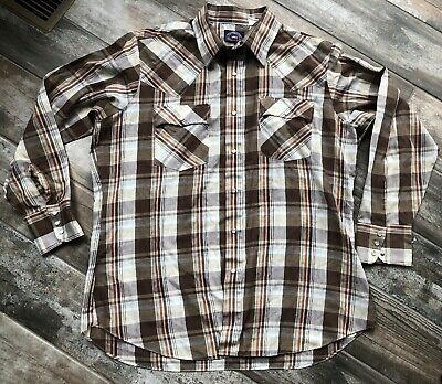 vintage 80s LEVIS Brown PLAID WESTERN PEARL SNAP COWBOY SHIRT size XL Free Ship