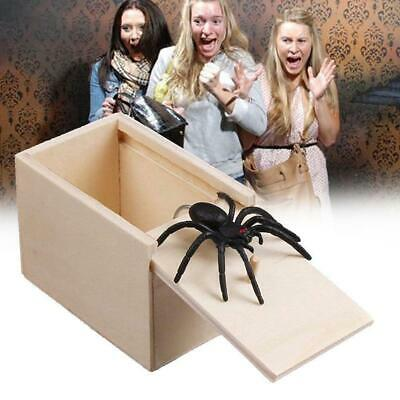 Wooden Prank Spider Scare Box -Surprise Joke Horror Prank Halloween Toys Fu M2J9