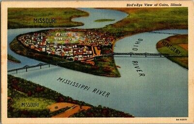 1940'S. Birds Eye View Of Cairo, Ill. Postcard Ep7