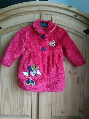 Fluffy Red Minnie Mouse Disney Coat Age 2-3 Jacket Warm Lined Polka Dot Lining