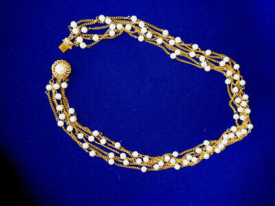 Superb Vintage Faux Pearl & Gold Tone Chain Necklace - 6 Strands Fancy Clasp 22""