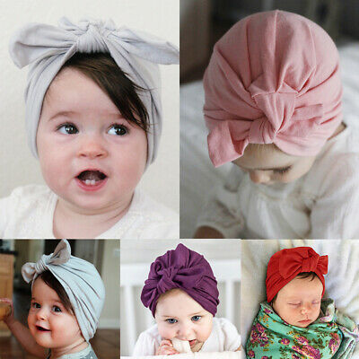 Newborn Infant Baby Children Turban Bowknot Soft Cotton Rabbit Beanie Hat Cap