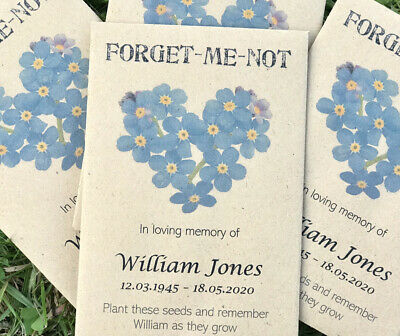 10 Personalised Forget-Me-Not Seeds Funeral Memorial In Memory of Remembrance