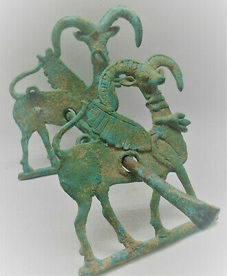 Rare Ancient Luristan Bronze Horse Harness Complete With Two Ram Cheek Pieces
