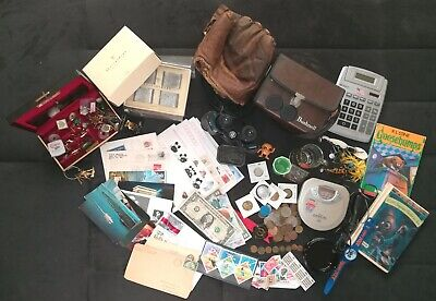 Junk Drawer Lot_Jewelry, Stamps/Covers, Paper Money, Coins, etc.