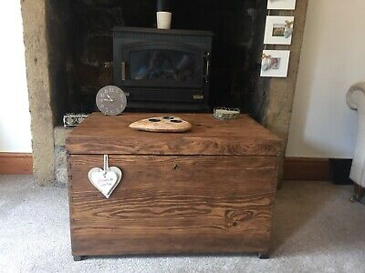 Old CHEST, Wooden TRUNK, Storage BOX, Coffee TABLE, Vintage, Rustic, Toy Box.