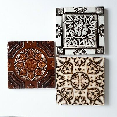 3 Antique Vintage Tiles ~ Including A Campbell Brick & Tile Co. Encaustic Tile