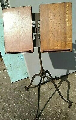 Antique Victorian Cast Iron & Oak Library Stand for Books Bible